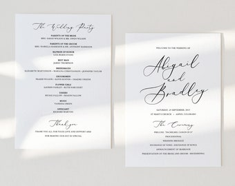 Wedding Ceremony Program Template, Elegant Script Wedding Program, Printable, Fully Editable, 5x7, Templett INSTANT Download