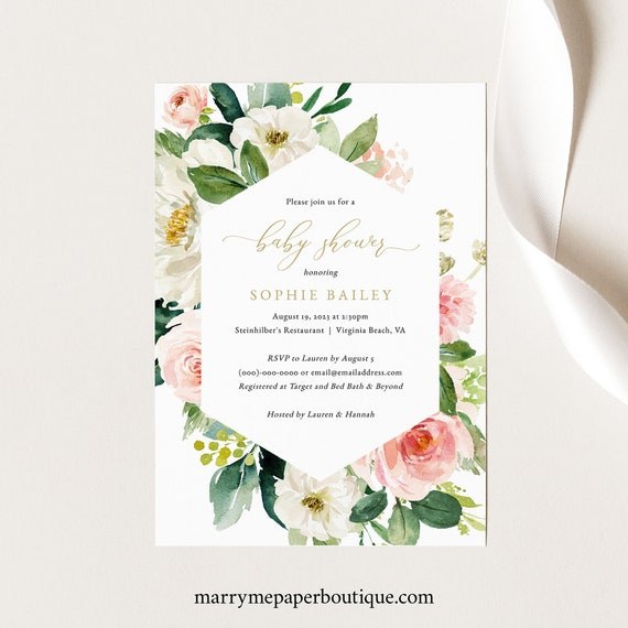 Blush & White Floral, Baby Shower Invitation Template, Printable Baby Shower Invite Card, Editable, Templett, INSTANT Download