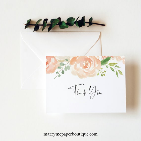 Thank You Card Template Folded, TRY BEFORE You BUY, Editable Instant Download, Peach Floral