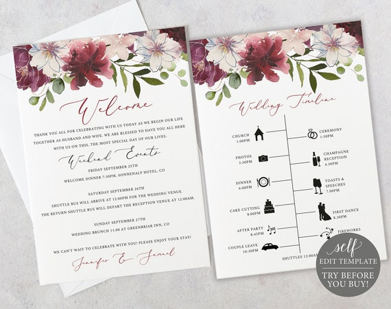 Wedding Timeline & Welcome Card Template, 100% Editable Instant Download, Itinerary Printable, Order of Events, Welcome Letter, Burgundy