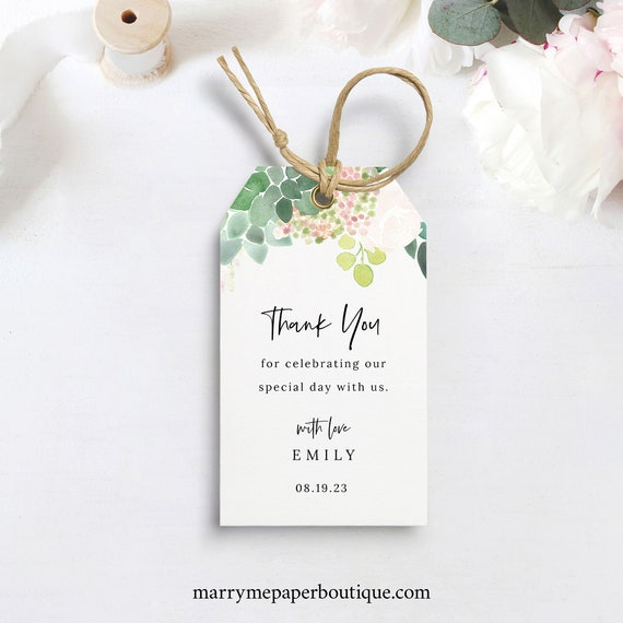 Succulent Floral Favor Tag Template, Green & Blush, Thank You Tag Printable, Templett Editable, Instant Download