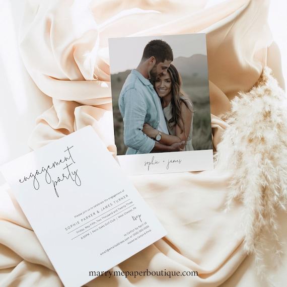 Engagement Party Invitation Template, Elegant Minimalist, Photo Engagement Party Invite Card, Printable, Editable, Templett INSTANT Download
