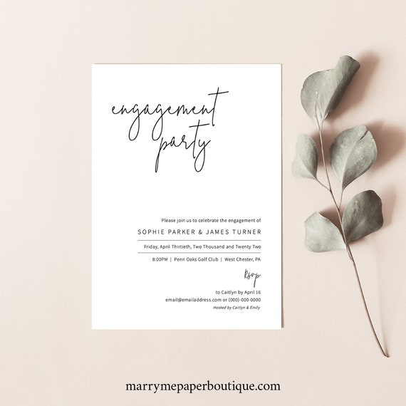 Engagement Party Invitation Template, Elegant Minimalist, Editable & Printable, Instant Download, Templett, Try Before You Buy