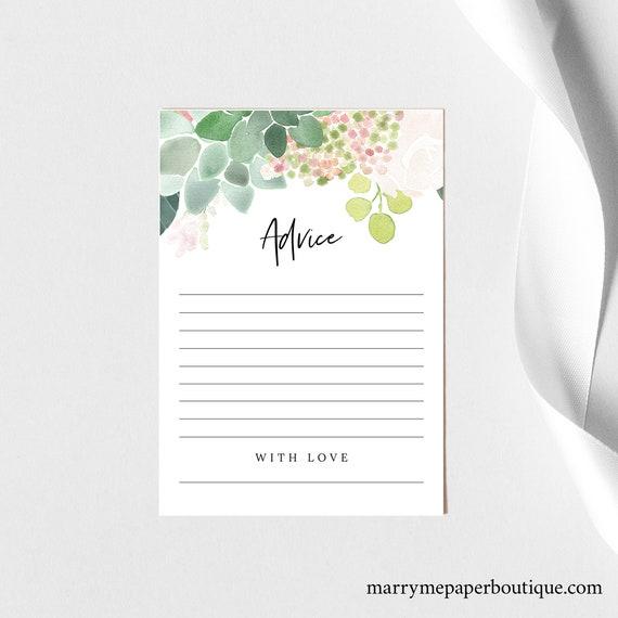 Advice Card Template, Succulent Floral, Editable Wedding Advice Card, Printable, Templett INSTANT Download