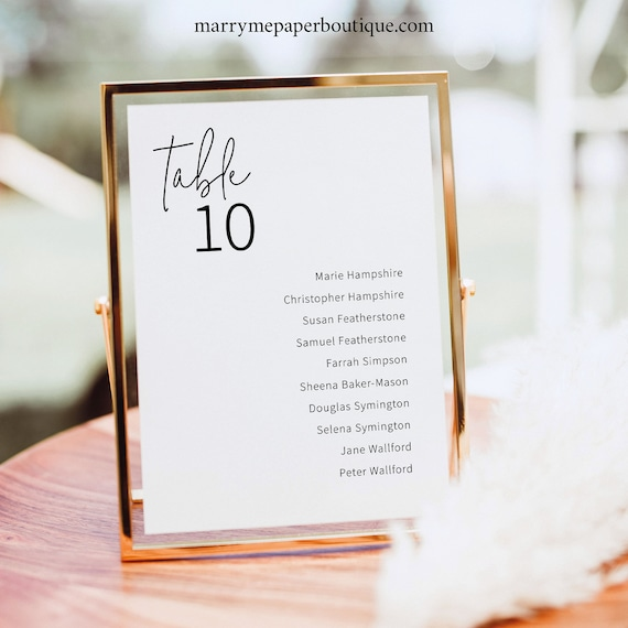 Small Wedding Seating Sign Template, Elegant Minimalist, 5x7  Table Seating Card, Printable, Editable, Templett INSTANT Download