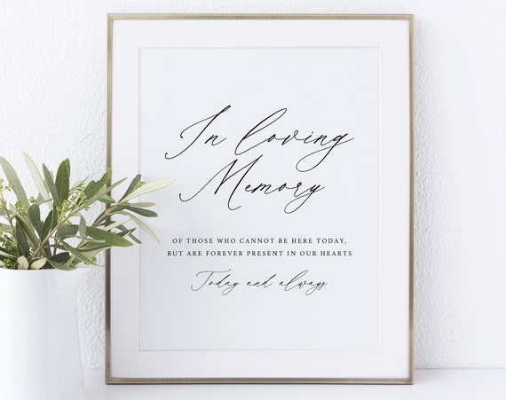 In Loving Memory Sign Template, Non-Editable Instant Download, Stylish Script Font