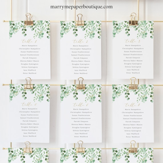 Garden Greenery Seating Cards Template, Greenery Wedding, Seating Chart Cards, Printable, Templett Editable, INSTANT DOWNLOAD