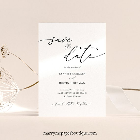 Classic Save the Date Card Template, Elegant Save Our Date, Printable, Templett, Editable, INSTANT Download
