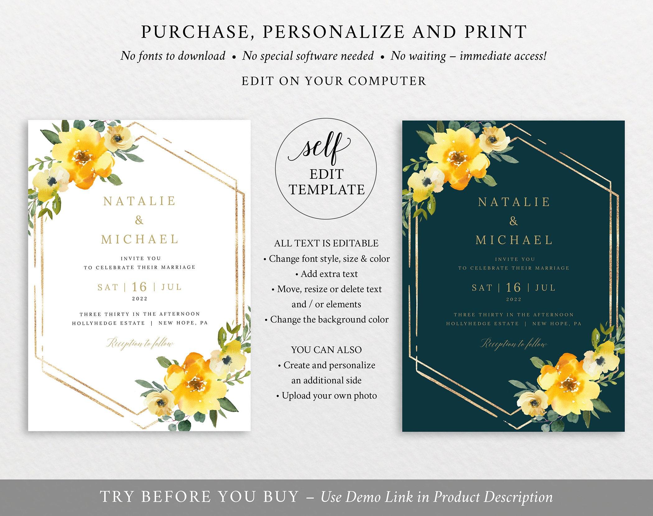 wedding invitation template set yellow floral editable