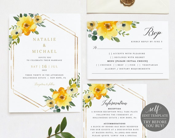 Wedding Invitation Template Set, Yellow Floral, Editable & Printable Instant Download, Demo Available
