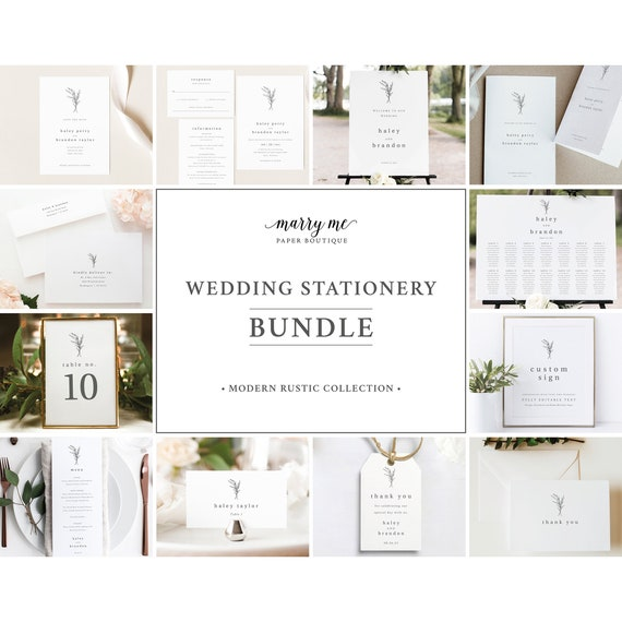 Wedding Bundle Templates, Templett Instant Download, Wedding Invitation Suite Template Bundle, Modern Rustic
