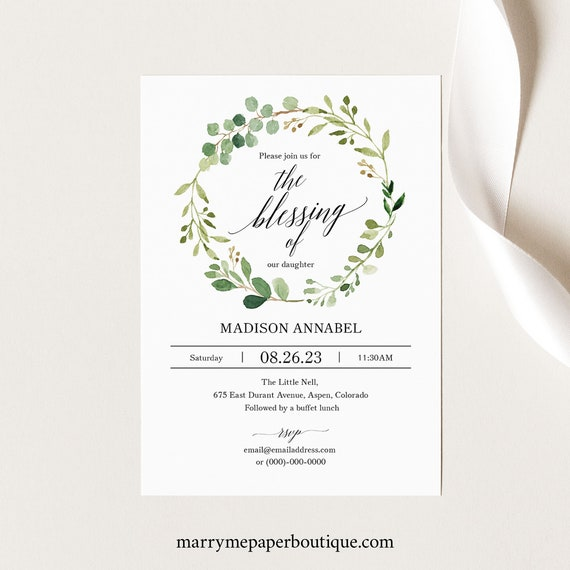 Greenery Blessing Invitation Template, Printable Blessing Invitation, Garden Blessing Ceremony Template, Instant Download