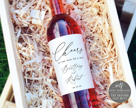 Wine Label Template, TRY BEFORE You BUY, Editable Instant Download, Stylish Script