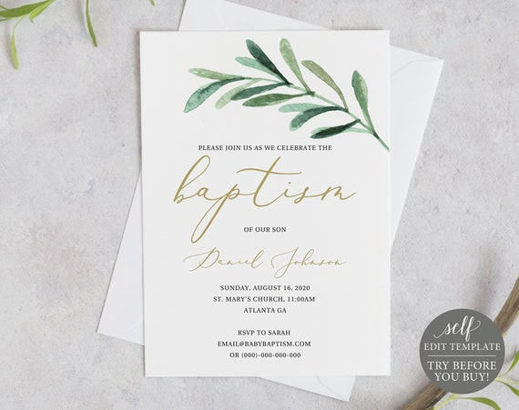 Baptism Invitation Template, Greenery Leaf, Editable Instant Download, TRY BEFORE You BUY