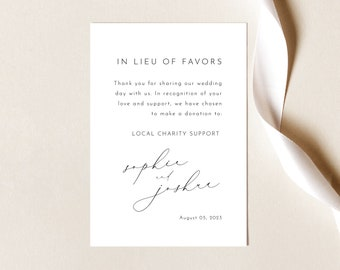 Elegant In Lieu of Favors Card Template, Luxury Calligraphy, Charity Donation Card, Printable, Editable, Templett INSTANT Download