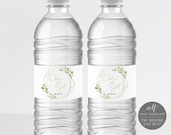 Water Bottle Label Template, Greenery & Gold, Templett, Demo Available, Editable Printable Instant Download