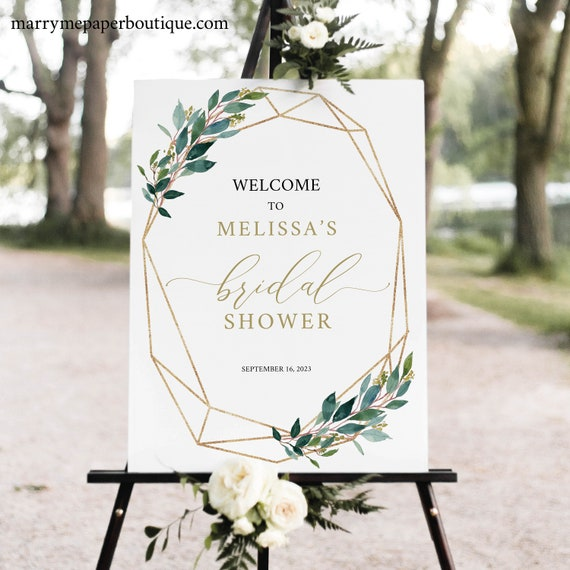 Bridal Shower Welcome Sign Template,  Editable, Printable Bridal Shower Sign, Instant Download, Geometric Greenery, TRY BEFORE You BUY