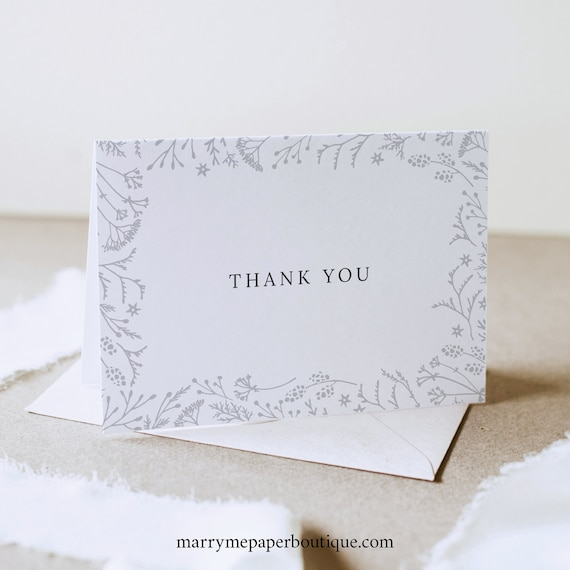 Winter Botanical Thank You Card Template, Thank You Card Folded, Editable & Printable, Templett, INSTANT Download