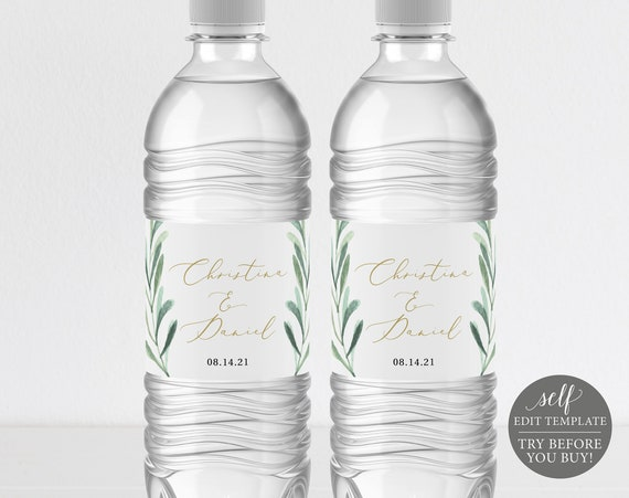 Water Bottle Label Template, TRY BEFORE You BUY, Greenery Leaf, Editable Instant Download