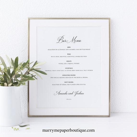 Wedding Bar Menu Template, Traditional Wedding Calligraphy, Wedding Drinks Menu, Printable, Editable, Templett INSTANT Download