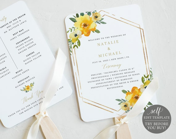 Wedding Program Fan Template, Yellow Floral, Editable & Printable Instant Download, Demo Available