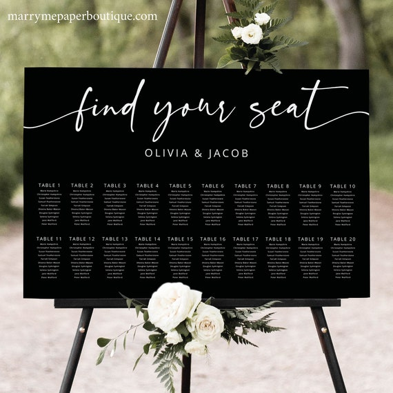 Wedding Seating Chart Template, Modern Calligraphy, Black Seating Plan, Wedding Seating Sign, Printable, Editable, Templett INSTANT Download