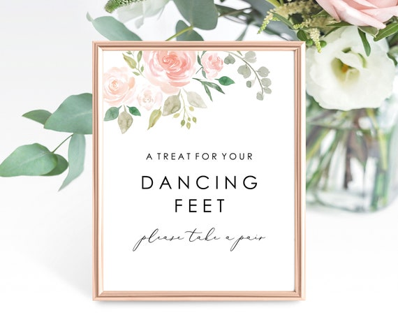 Floral Wedding Dancing Feet Sign Template, Printable Dancing Shoes Sign Template, Floral, Please Take a Pair, PDF Instant Download, MM08-3