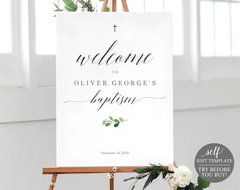 Baptism Welcome Sign Template,  Editable, Baptism Poster Printable, Greenery Baptism Signage, Instant Download, TRY BEFORE You BUY