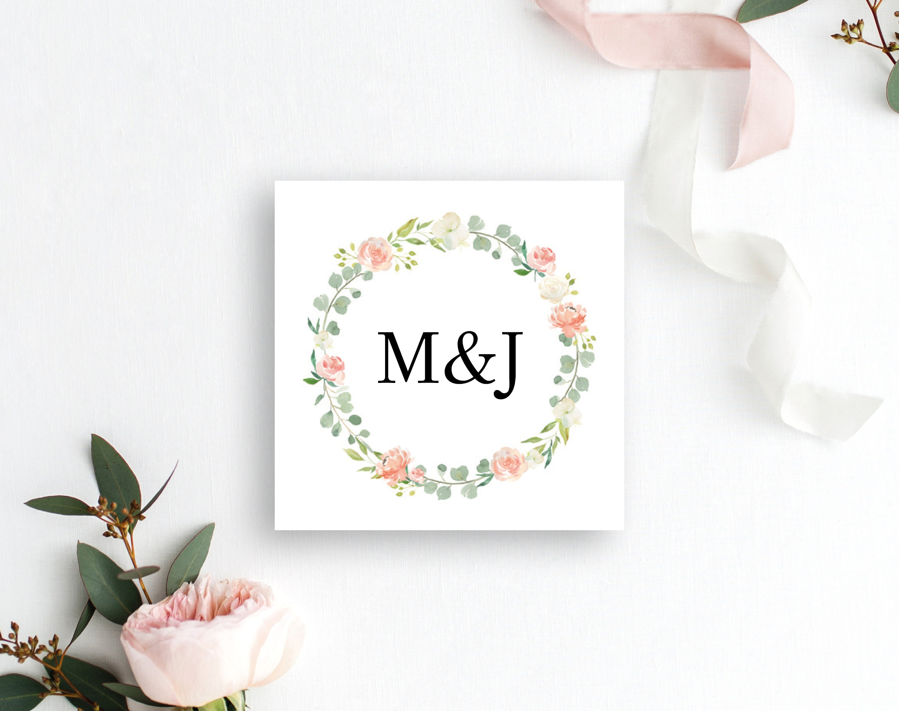Floral Wedding Monogram Tag Template Floral Favor Tag Printable
