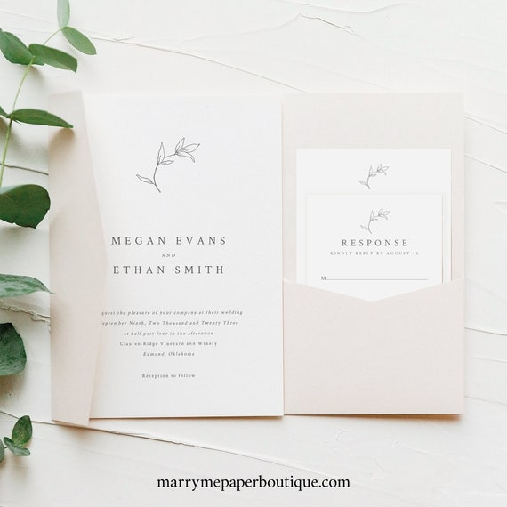 Wedding Invitation Template Suite, Botanical Leaf, Printable Wedding Pocket Fold, Templett Instant Download, Try Before Purchase