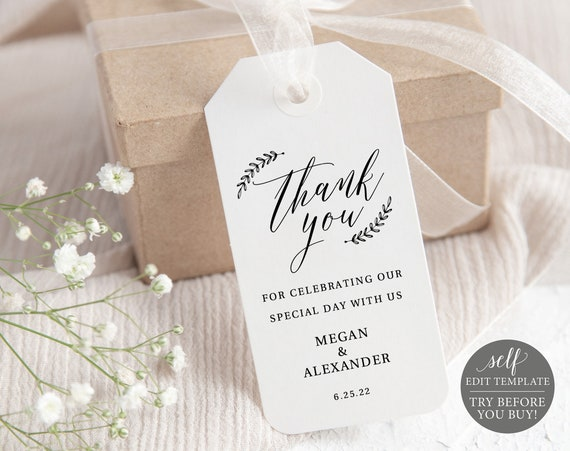 Rustic Favor Tag Template, TRY BEFORE You Buy, Editable & Printable Instant Download, Templett