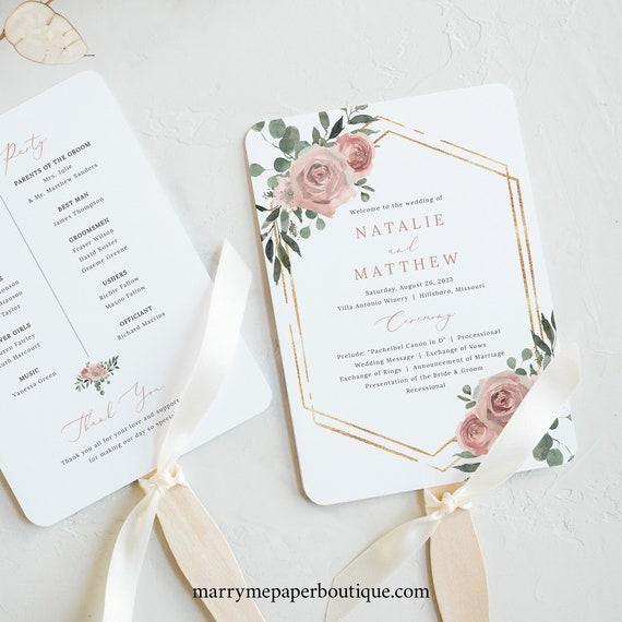 Wedding Program Fan Template, Dusky Pink Floral, Wedding Fan Program, Printable, Templett INSTANT Download, Editable