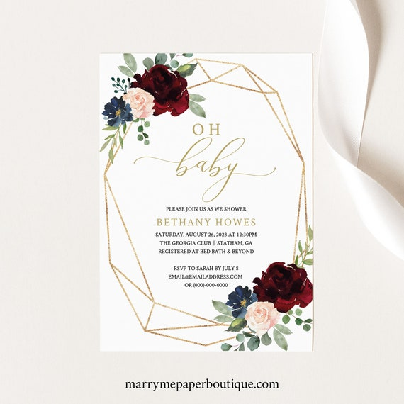Baby Shower Invitation Template, Printable Editable Instant Download, Burgundy Geometric, Demo Available