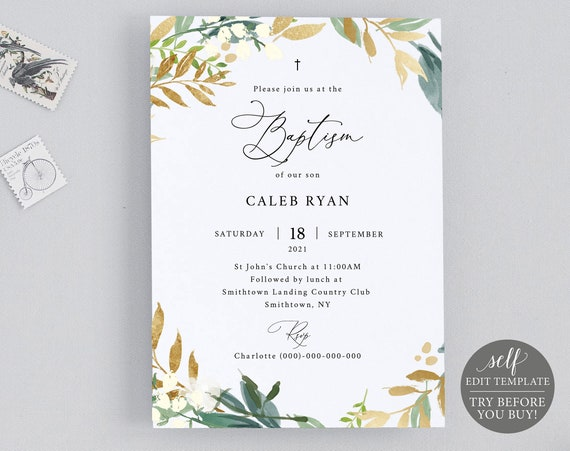 Baptism Invitation Template, 100% Editable Instant Download, TRY BEFORE You BUY, Gold & Green Floral