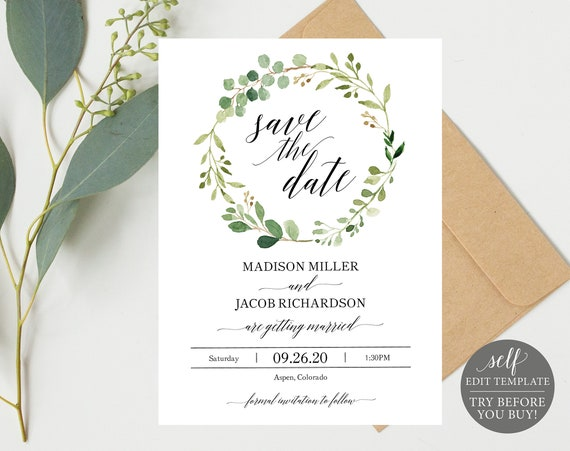 Greenery Wedding Save the Date, Printable Save the Date, Save the Date Template, Editable Save the Date, Instant Download