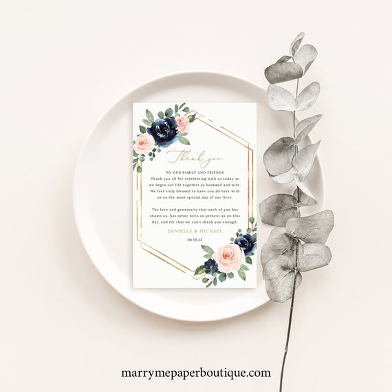 Wedding Thank You Note Template, Navy & Blush Floral, Thank You Letter, Printable, Templett INSTANT Download