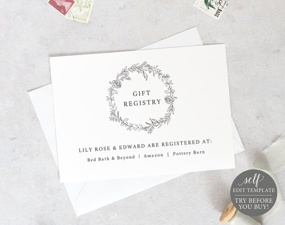 Gift Registry Card Template, Botanical Floral, Templett, Editable & Printable Instant Download, TRY BEFORE You Buy