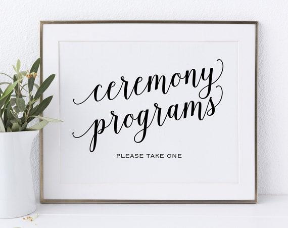 Ceremony Programs, Please Take a Program, Wedding Program Sign, Ceremony Program Sign, Wedding Printable, PDF Instant Download, MM01-1