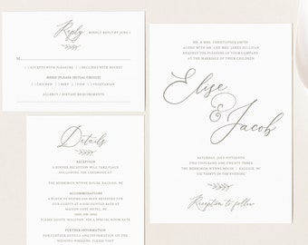 Wedding Invitation Template Set, TRY BEFORE You Buy, Invite, RSVP & Details Card Printables, Instant Download,  Editable