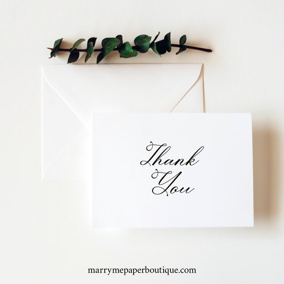Thank You Card Template, Elegant Romantic Script, Folding Thank You Card, Printable, Editable, Templett INSTANT Download