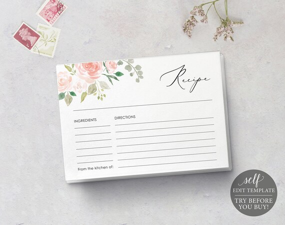 Recipe Card Template, TRY BEFORE You BUY, Editable Instant Download, Pink & Blush Floral