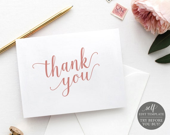 Thank You Card Template, Rose Gold Script, Editable & Printable Instant Download, TRY BEFORE You Buy, Templett
