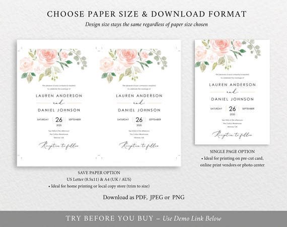 Floral Wedding Invitation Template Printable Wedding Invitation Set Templates Floral Invitation Calligraphy Instant Download Mm08 3