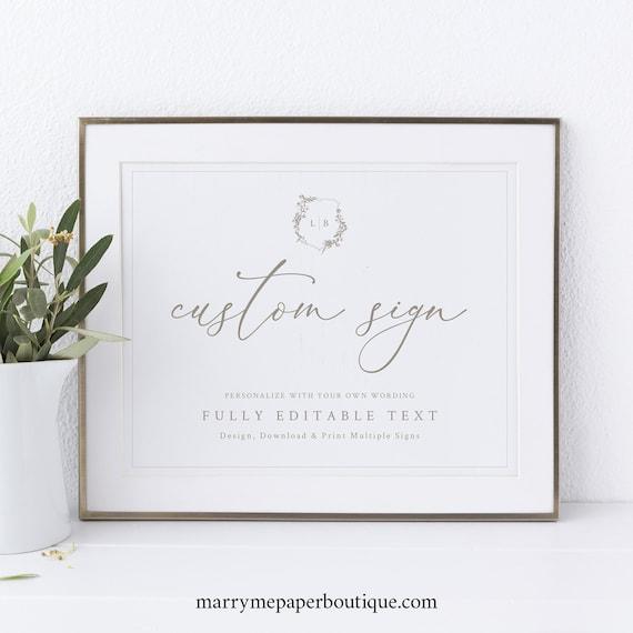 Wedding Sign Bundle, Template Set, Botanical Wedding Crest, Editable Wedding Signs, Printable, Templett INSTANT Download, Landscape