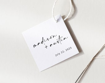 Square Favor Tag Template, Handwritten Style, Modern Minimalist, Wedding Tag, Printable, Editable, Templett INSTANT Download