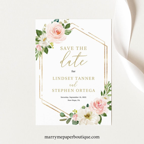 Save the Date Template, Editable Instant Download, Blush Floral Hexagonal, TRY BEFORE You BUY