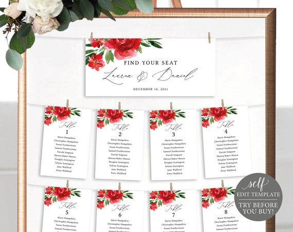 Wedding Seating Chart Template, Red Floral, Editable Instant Download, Free Demo Available