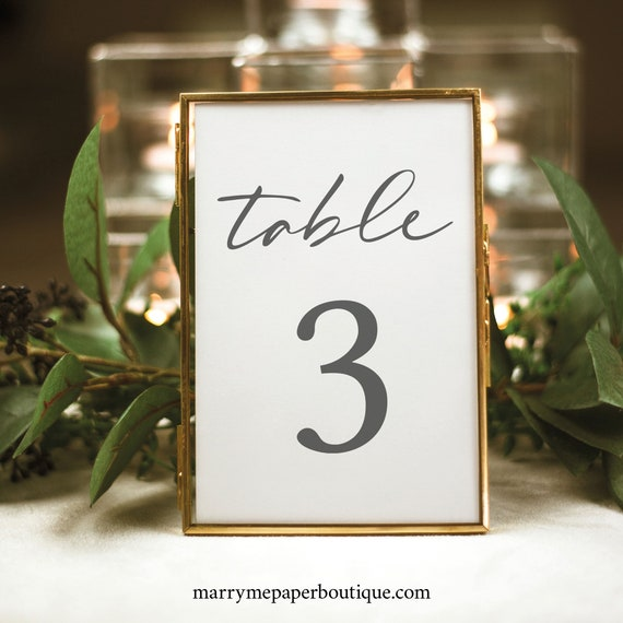 Table Number Template, Handwritten Style Font, Instant Download, Templett, Try Before You Buy, Editable & Printable