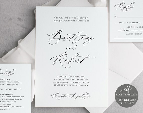 Wedding Invitation Templates, TRY BEFORE You BUY, Editable Instant Download, Stylish Script Font