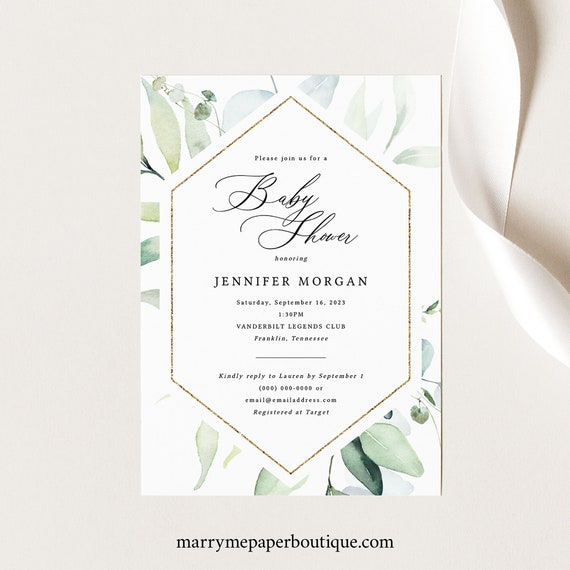 Classic Greenery Baby Shower Invitation Template, Printable Baby Shower Invite, Editable, Templett INSTANT Download
